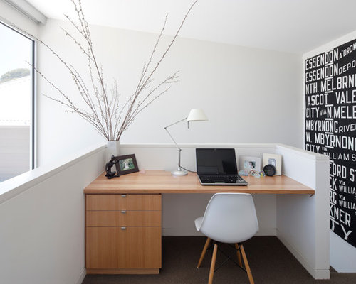 Home Office   Modern Built In Desk Carpeted Home Office Idea In Melbourne