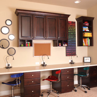 Example of a classic built-in desk home office design in Denver