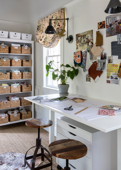 Transitional Home Office by Home Glow Design