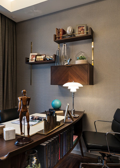 Retro Home Office & Library by A.RK Interior Design Pte Ltd