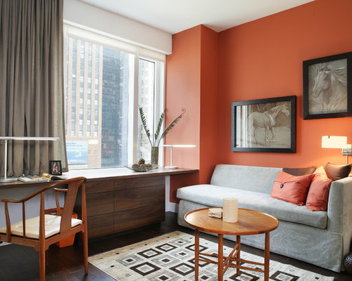 Best Home Office And Library With Orange Walls Design