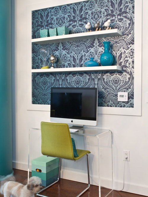 Wallpaper On Shelves Houzz