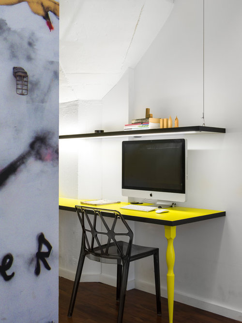 Inspiration for a small contemporary home office in sydney with white walls linoleum floors