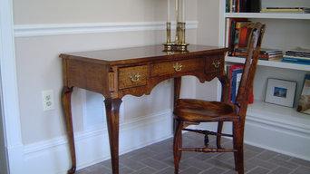 Tiger Maple desk in woodshop office