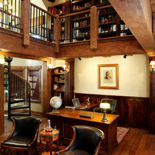 Rustic Home Office by Sitka Log Homes