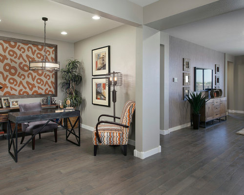 Gray hardwood floor houzz for Flooring ideas for home office