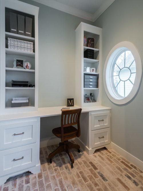 Arbeitszimmer mit backsteinboden ideen design bilder - Arbeitszimmer wandfarbe ...