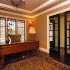 Den Onyx fireplace and built in cabinets - Traditional - Home Office - Minneapolis - by Erotas ...