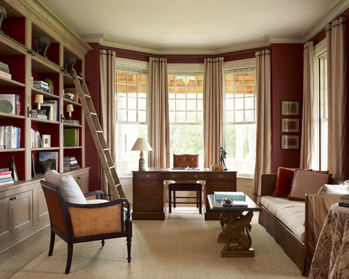 Traditional Home Office And Library Design Ideas Renovations Photos With Red Walls