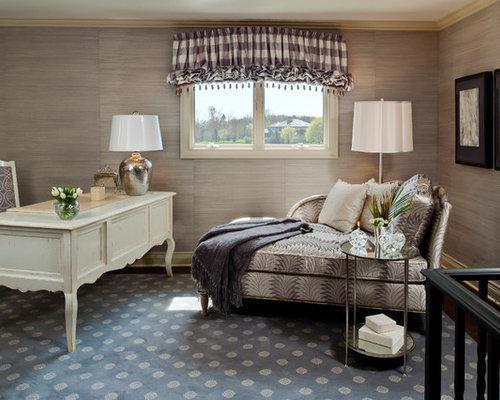 Inspiration for a timeless freestanding desk dark wood floor home office  remodel in Detroit. Slate Blue Carpet   Houzz