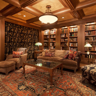 Home office - traditional medium tone wood floor and brown floor home office idea in Omaha