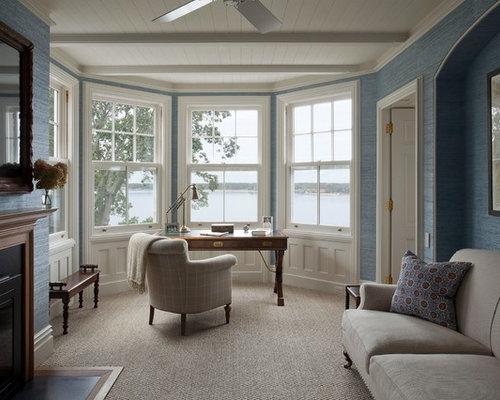 Arbeitszimmer mit kamin und teppichboden ideen design bilder houzz - Arbeitszimmer wandfarbe ...