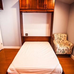 Esempio di uno studio tradizionale di medie dimensioni con libreria, pareti blu, pavimento in legno massello medio, nessun camino, scrivania incassata e pavimento marrone
