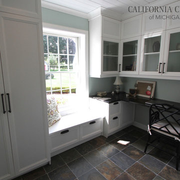 Traditional White Home Office with Quartz Countertop