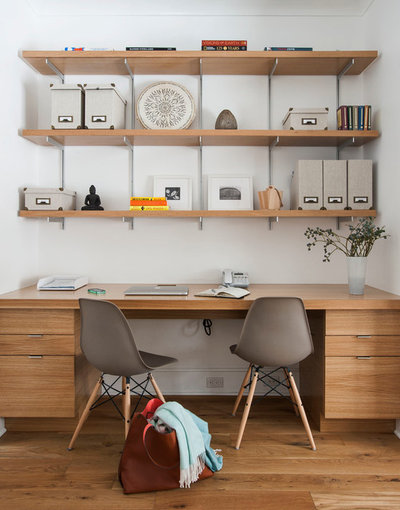 Transitional Home Office by indi interiors