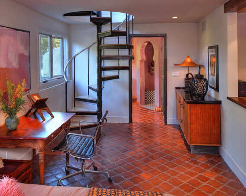 tuscan freestanding desk terra cotta floor and red floor home office photo in los angeles - Terra Cotta Tile Dining Room Decorating