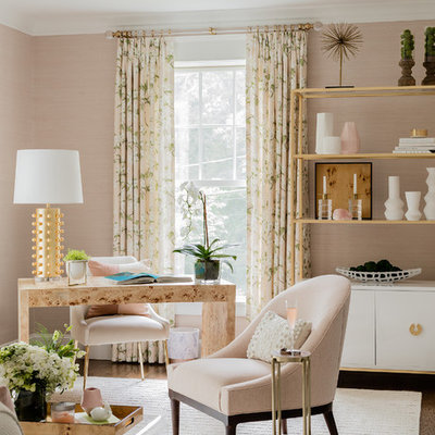 Inspiration for a transitional freestanding desk dark wood floor study room remodel in Boston with pink walls and no fireplace