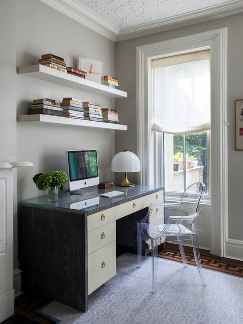 shelves for home office. transitional freestanding desk dark wood floor home office photo in new york with gray walls shelves for e