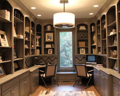 office decor. inspiration for a transitional builtin desk home office remodel in chicago with gray walls decor