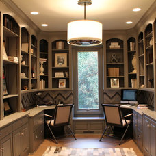Transitional Home Office by Courtyard Custom Homes