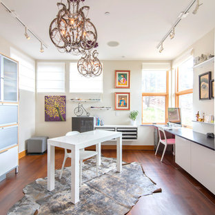 Inspiration For A Mid Sized Transitional Freestanding Desk Brown Floor And  Medium Tone Wood Floor. Save Photo. Transitional Home Office