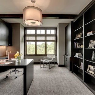 Inspiration for a transitional built-in desk carpeted home office remodel in Minneapolis with gray walls and no fireplace