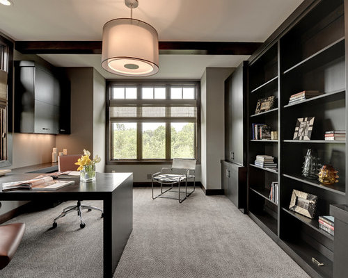 Awesome Inspiration For A Transitional Built In Desk Carpeted Home Office Remodel  In Minneapolis With Gray