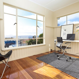 Bon Design Ideas For A Small Transitional Study Room In Hobart With Beige  Walls, Medium Hardwood. Bookmark Photo. Transitional Home Office