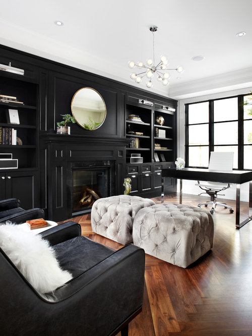 Inspiration For A Transitional Freestanding Desk Dark Wood Floor And Brown Home Office Remodel In