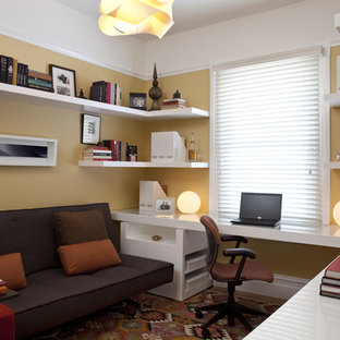 Transitional Home Office with Yellow Walls