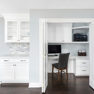 Study room - small transitional built-in desk dark wood floor and brown floor study room idea in Chicago with gray walls and no fireplace