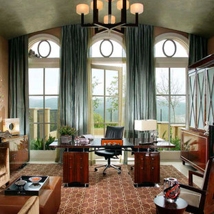 Huge transitional freestanding desk marble floor and beige floor study room photo in Orange County with beige walls, a standard fireplace and a stone fireplace