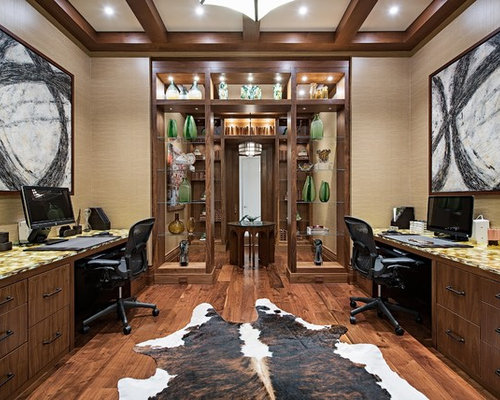 High Quality Inspiration For A Tropical Built In Desk Dark Wood Floor Study Room Remodel  In Other