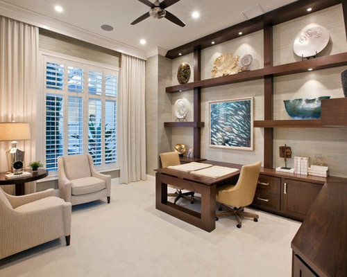 Tropical Home Office Design Ideas, Remodels & Photos