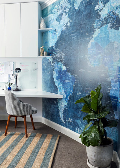 Transitional Home Office by Alix Helps Interiors