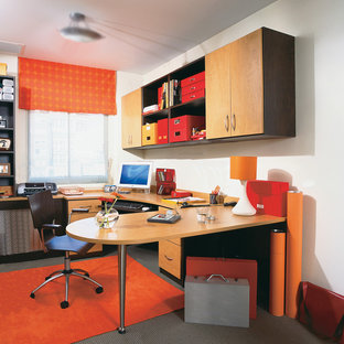 Large trendy built-in desk carpeted study room photo in New York with white walls and no fireplace