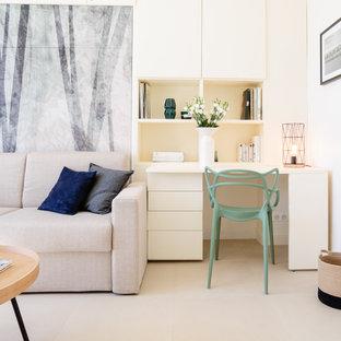 Idées déco pour un bureau contemporain de taille moyenne avec un mur blanc, moquette, un bureau intégré et aucune cheminée.