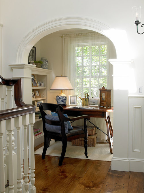 alcove office. small elegant freestanding desk dark wood floor study room photo in boston with white walls alcove office f