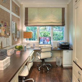 Inspiration For A Transitional Built In Desk Home Office Remodel In San  Francisco