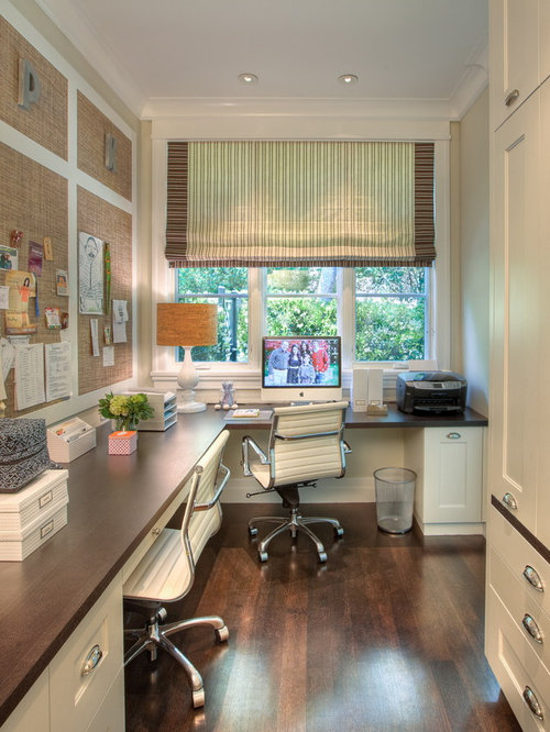 inspiration for a transitional home office remodel in san francisco with a built in desk