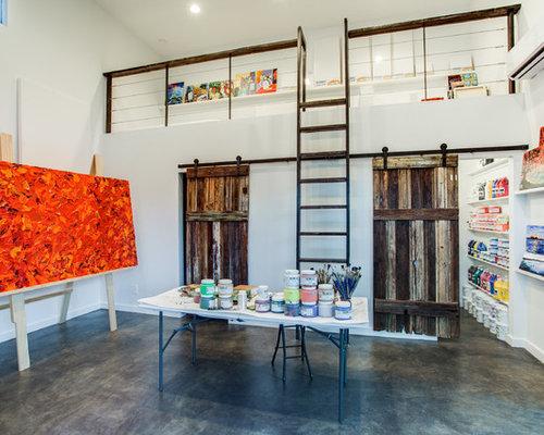 home art studio design. Trendy concrete floor home office photo in Dallas Artist Studio  Houzz