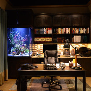 Inspiration for a large timeless freestanding desk travertine floor and brown floor study room remodel in Dallas with beige walls and no fireplace