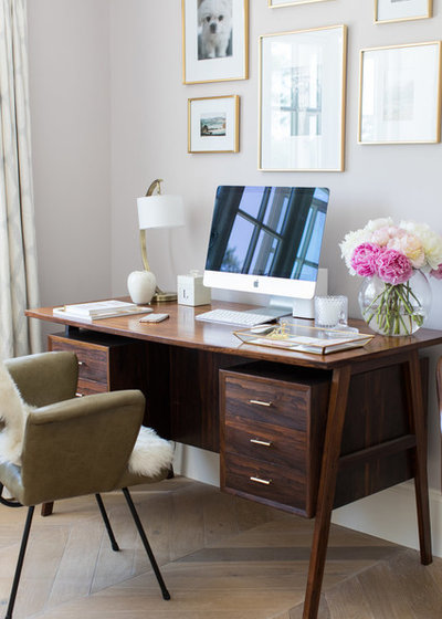 Transitional Home Office & Library by Laura Butler-Madden