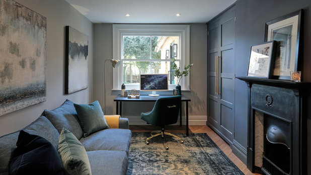Transitional Home Office & Library by Cherie Lee Interiors