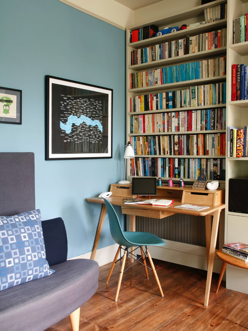 Superb Eclectic Freestanding Desk Medium Tone Wood Floor Study Room Idea In London  With Blue Walls