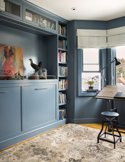 Transitional Home Office & Library by Niche Interiors