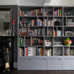 This is an example of a contemporary home office and library in London.