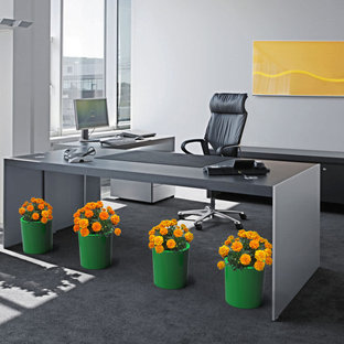 Example of a large trendy freestanding desk carpeted home studio design in Toronto with gray walls