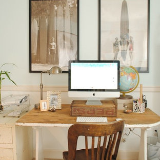 Study room - mid-sized coastal freestanding desk carpeted study room idea in Portland with blue walls