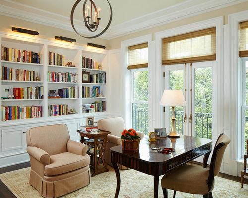 Mid Sized Elegant Freestanding Desk Dark Wood Floor And Brown Floor Study  Room Photo In